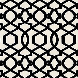 Black & White Trellis Fabric Sultan Pepper Black