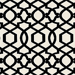 Black & White Trellis Fabric Sultan Pepper Black