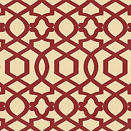 Flocked Tan & Red Trellis Fabric Sultan Pepper Brick