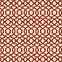 Flocked Tan & Red Trellis Fabric Sultan Pepper Brick