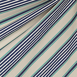 Gray, Teal & Blue Stripe Fabric Walk the Line Indigo