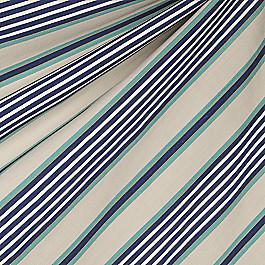 Gray, Teal & Blue Stripe Fabric Walk the Line Indigo