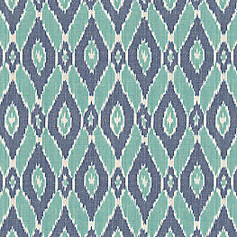 Woven Blue & Teal Ikat Fabric Diamond in the Rough Waterfall