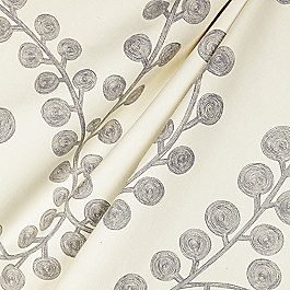 Gray Botanical Swirl Fabric Goldilocks Platinum