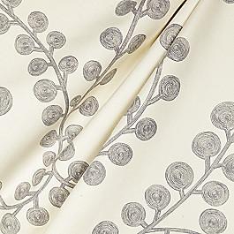 Gray Botanical Swirl Fabric Goldilocks Platinum