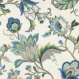 Jacobean Blue Floral Fabric Fleur de Leaf True Blue