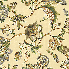 Jacobean Beige Floral Fabric Fleur de Leaf Natural