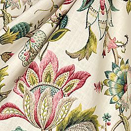 Teal & Pink Floral Fabric Fabric Fleur de Leaf Blossom