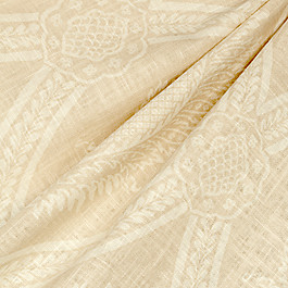 Ivory Medallion Trellis Fabric Period Peace Biscotti