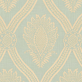 Aqua Medallion Trellis Fabric Period Peace Spa