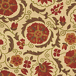 Beige & Red Suzani Fabric Suzani Q Cardinal