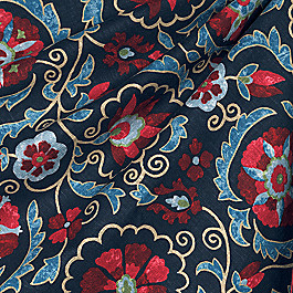 Red & Navy Blue Suzani Fabric Suzani Q Peacoat