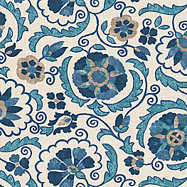 Beige & Blue Suzani Fabric Suzani Q Insignia