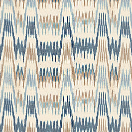 Tan & Blue Flame Stitch Fabric Ebb & Weave Blueberry