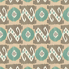 Tan & Teal Handwoven Ikat  Fabric XOXO Teal