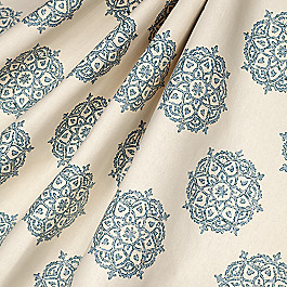 Blue Medallion Block Print Fabric Multi Medallionaire Niagara