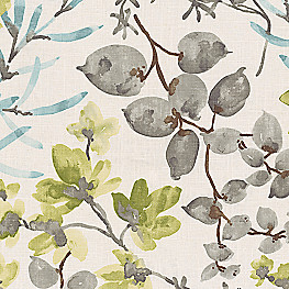 Aqua Blue Watercolor Floral Fabric Awash in the Park Marine