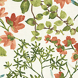 Coral Watercolor Floral Fabric Awash in the Park Amber