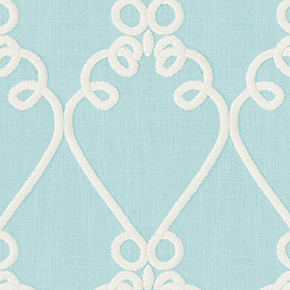 Aqua Embroidered Scroll Fabric Loop de Loom Peacock
