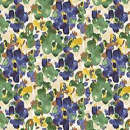 Green & Blue Watercolor Fabric Landsmeer Ultramarine