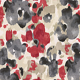 Gray & Red Watercolor Fabric Landsmeer Currant
