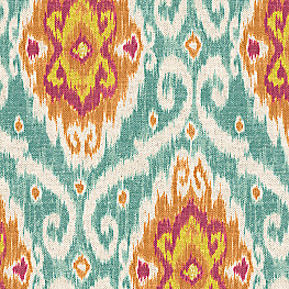 Red & Blue Ikat Medallion Fabric Spice Islands Caribbean