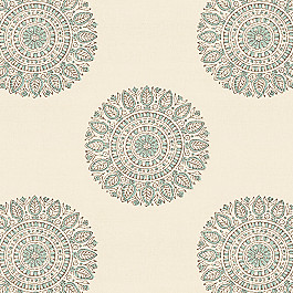 Block Print Aqua Medallion Fabric Sol Circa Harbor