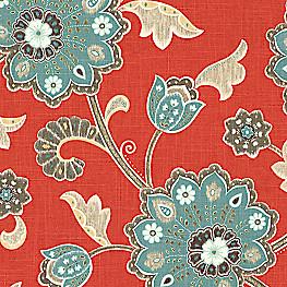 Modern Aqua & Red Floral Fabric Cutting Hedge Paprika