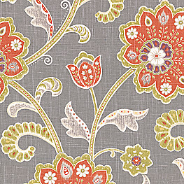 Modern Coral & Gray Floral Fabric Cutting Hedge Persimmon