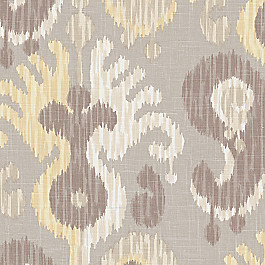 Pastel Yellow & Gray Ikat Fabric Indian Summer Straw