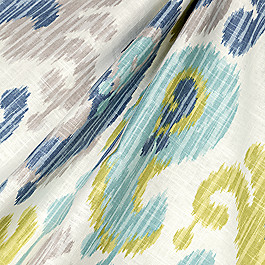 Aqua, Blue & Green Ikat Fabric Indian Summer Stillwater