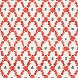 Red Ikat Dot & Diamond Fabric Connect the Dots Paprika