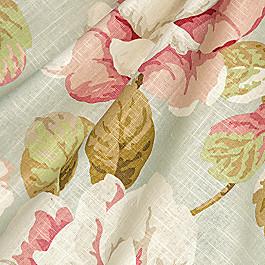 Floral Aqua & Pink Rose Fabric Tea Rose Waterlily