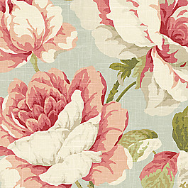 Floral Aqua & Pink Rose Fabric Tea Rose Waterlily