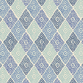 Block Print Blue Diamond Fabric Globetrotter Blueberry