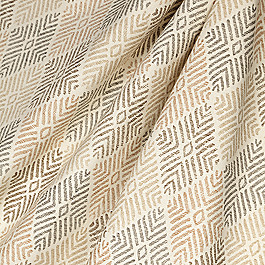 Block Print Beige Diamond Fabric Globetrotter Dune