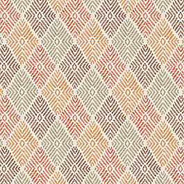 Block Print Orange Diamond Fabric Globetrotter Autumn