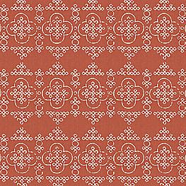 Block Print Orange Quatrefoil Fabric Bandhani Print Persimmon