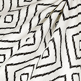 Maze Black & White Diamond Fabric Optrix Black