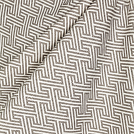 Maze Print Taupe Geometric Fabric Labyrinth Rock