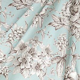 Light Blue Floral Toile Fabric Secret Garden Mist