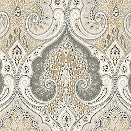 Gray & Tan Paisley Damask Fabric Latika Limestone