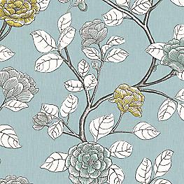 Aqua Modern Floral Fabric Leda Peony Aqua Tint