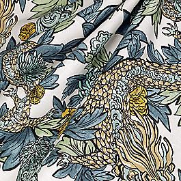 Aqua Chinoiserie Dragon Fabric Ming Dragon Midnight