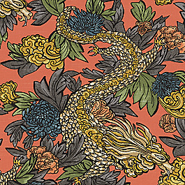 Red Chinoiserie Dragon Fabric Ming Dragon Persimmon