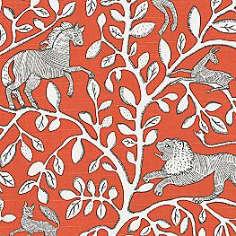 Red Modern Animal Motif Fabric Pantheon Persimmon