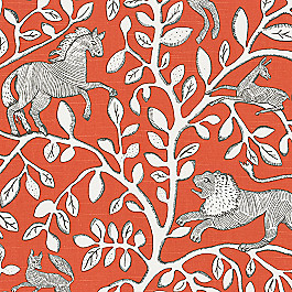 Red Modern Animal Motif Fabric Pantheon Persimmon