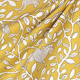 Yellow Modern Animal Motif Fabric Pantheon Dandelion