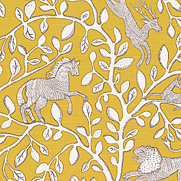Yellow Modern Animal Motif Fabric Pantheon Dandelion