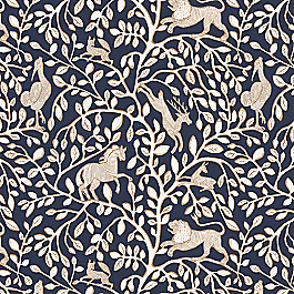 Navy Blue Animal Motif Fabric Pantheon Admiral